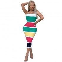 Color Block Mid-Calf Dress