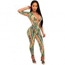Sexy Deep V Neck Printed Polyester Skinny Jumpsuits