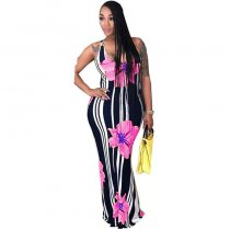 Casual U Neck Striped Floral Printed Floor Length Dress