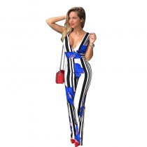 Trendy V Neck Striped Floral Printed One-piece Jumpsuits