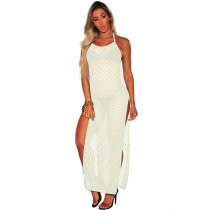 Solid Backless Bandage Cover Up Hollow Out Maxi Dress