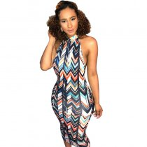 Wavy Strippes Printed Colorful Backless Party Dress