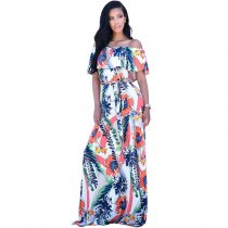 Off Shoulder Printed Maxi Dress