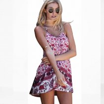 Elephant Printed Straps Summer Dress