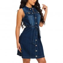 Denim Dress With Button & Belt