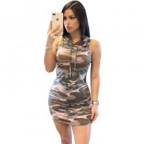 Sleeveless Camouflage Hoodie Dress