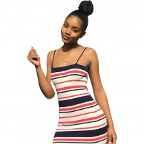 Printed Straps Stripped Dress