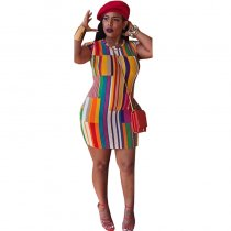 Colorful Print Stripe Slim Dress