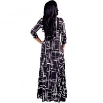 Black Casual A-Line Long Print Swing Dresses