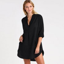 Black Long Sleeve Pockets Solid Beach Blouse
