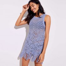 Beach Fringe Crochet Tunic Sweater