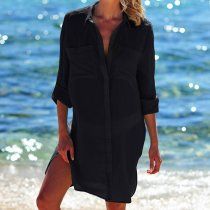 Black Crinkle Twill Beach Shirt