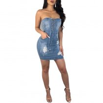 Sexy Strapless Lace-Up Denim Dresses
