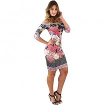 Slash Neck Printed Mini Dress