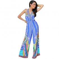Backless Deep V Print Casual Jumpsuit