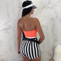 Strapless Top & Black And White Striped Pants