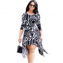 Black and White Printed Irregular Swallowtail Dress