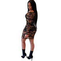 Camo Mesh Ruched Dress