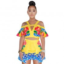 Cormac Yellow Floral Print Short Two Piece Set