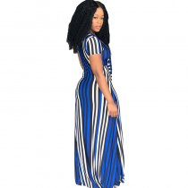 Multi-Colored Strippes Cut Out Maxi Dress