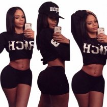 Black Sports Print Crop Top and Shorts