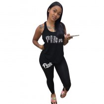 Sportive Letter Printed Tank Top And Pants