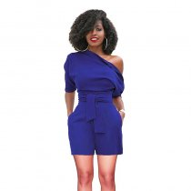 Women's Retro Short Plain Rompers With Belt
