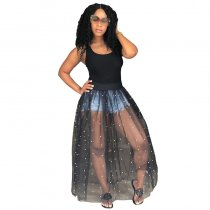 Real Studded Sheer Beaded Mesh Pop Dress