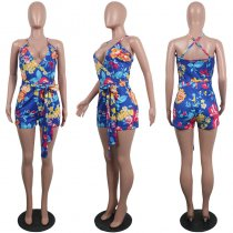 Print Flower Wrapped Curvy Romper