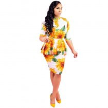 Printed Sunflower Fake Two Dresses
