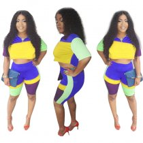 Block Color Turn-down Neck Crop Top and Shorts