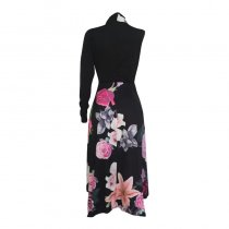 Printed One-Shoulder Flower Dress