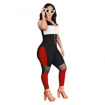 Sportive Contrast Hooded Jumpsuit