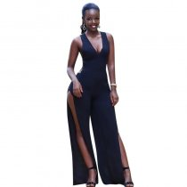 Black Cut Out Side Slit Shoulder-Strap Elegant Long Jumpsuit