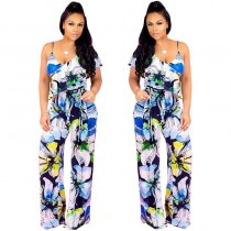 Flower Print Jumpsuit With Irregular Shoulders