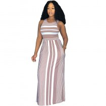 Fashion Round Neck Striped Floor Length Dress