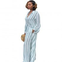 Striped Print Long Cardigan Two Sets With Wide Leg