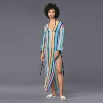 Chiffon Stripe Beach Tunic Dress