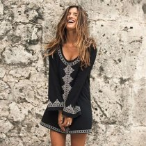Cotton White Embroidered Long Sleeve Beach Coverup
