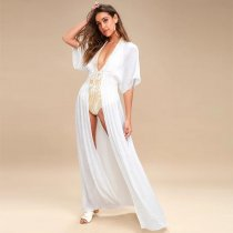 Carried Away Off-White Embroidered Maxi Cardigan