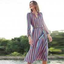 Boden Rainbow Stripe Summer Midi Dress