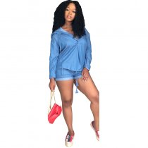 Loose Hooded Denim Blouse And Shorts