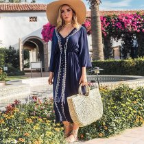 Cotton Embroidered Beach Caftan