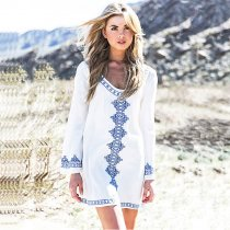 Cotton Black Embroidered Long Sleeve Beach Coverup