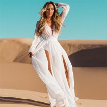 Elastic Waist Chiffon Slit Maxi Dress