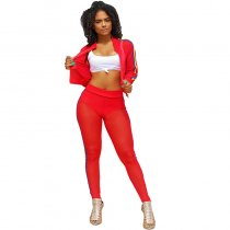 See You Looking Crop Jacket Pant Set - Red
