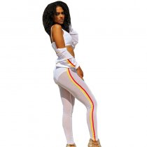 See You Looking Crop Jacket Pant Set - White