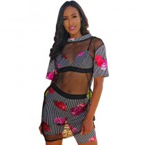 Flower Statement Floral Stripe Short Set