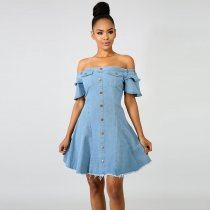 Off Shoulder A-Line Denim Girly Raw Dress