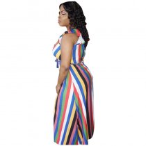 Ruffled Colorful Striped Princess Maxi Dress